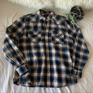 Wind River 100% Cotton Plaid Button Down Shirt